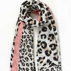 Cream Leopard Print Scarf with Pink Colour Block Border