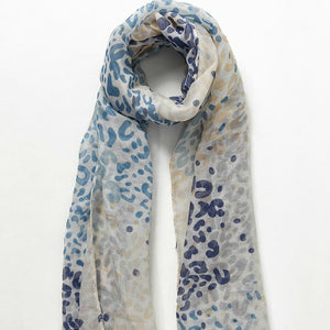 Watercolour painted leopard print scarf with Tassel Aqua - Villancher Gifts &  Fashion Accessories
