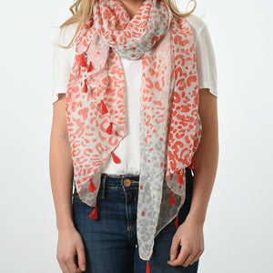 Watercolour painted leopard print scarf with Tassel Coral