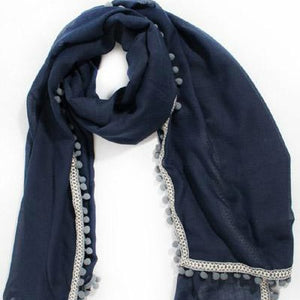 Navy & Grey Pom Pom Scarf Aztec Trim - Villancher Gifts &  Fashion Accessories