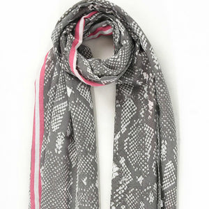 Grey with Bright Pink Stripe Snake Print Scarf