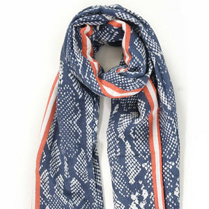 Navy with Orange Stripe Snake Print Scarf