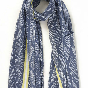 Navy with Yellow Stripe Snake Print Scarf - Villancher Gifts &  Fashion Accessories