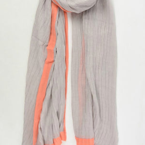 Pleated Taupe Scarf with Coral Colour Block Border - Villancher Gifts &  Fashion Accessories