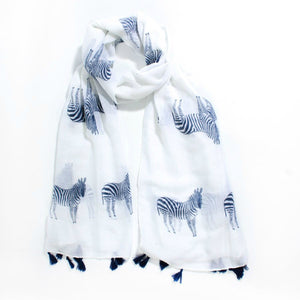 White Summer Scarf with Navy Zebra Print & Tassel