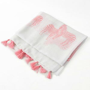 White Summer Scarf with Pink Zebra Print & Tassel - Villancher Gifts &  Fashion Accessories