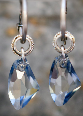 Blue Shadow Swarowski Element Crystal on Silver Hoop Earrings - WAS £35