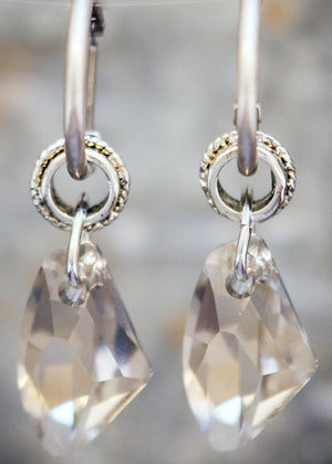 Clear Swarowski Crystal  Earrings - Villancher Gifts &  Fashion Accessories
