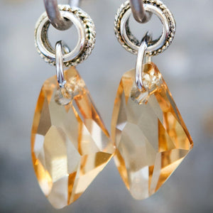 Gold Swarowski Element Crystal on Silver Plated Hoop Earrings - Villancher Gifts &  Fashion Accessories