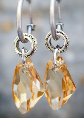 Gold Shadow Swarowski Element Crystal on Silver Hoop Earrings