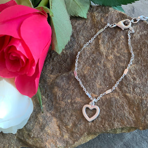 Tutti&Co silver simple Heart  Bracelet - Villancher Gifts &  Fashion Accessories