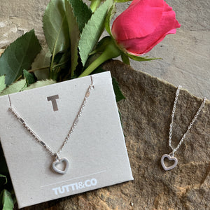 Tutti&Co silver simple Heart Necklace - Villancher Jewellery &  Fashion Accessories