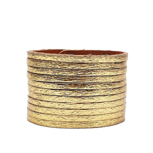 Wide Leather Cuff Gold - Villancher Gifts &  Fashion Accessories