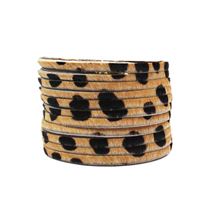 Wide Leather Cuff Leopard - Villancher Gifts &  Fashion Accessories