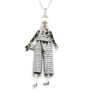 French Doll Necklace Edit- Funky silver trouser suit