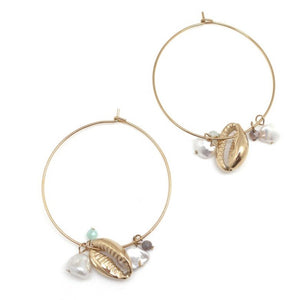Stunning Hoop Earring f=featuroing gold cauri shell, fresh water pearl and natural stone