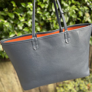Navy & Orange PU leather shopper