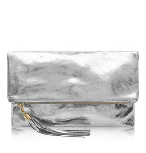 Anna Tassel Clutch Bag Silver - Villancher Gifts &  Fashion Accessories