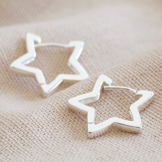 Silver Star Hoop Earrings  - LAST 2 PAIRS