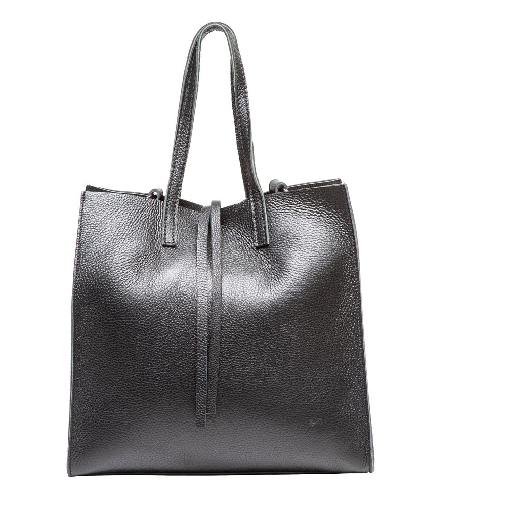 ADELE BLACK LEATHER TOTE BAG - www.marlafiji.com
