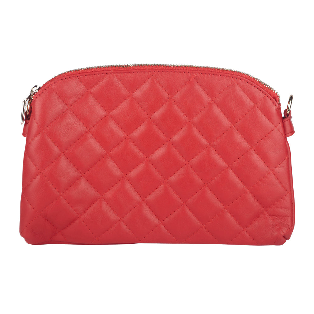 ALISHA RED ITALIAN LEATHER QUILTED SHOULDER BAG - www.marlafiji.com