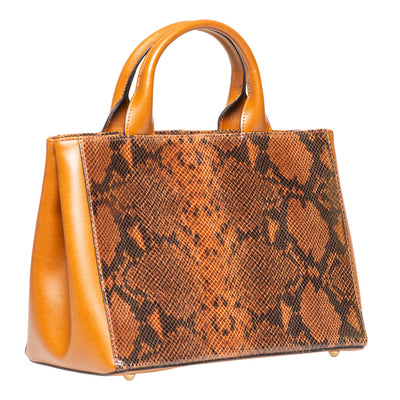 AMSLIE COGNAC SNAKE EFFECT LEATHER HANDBAG