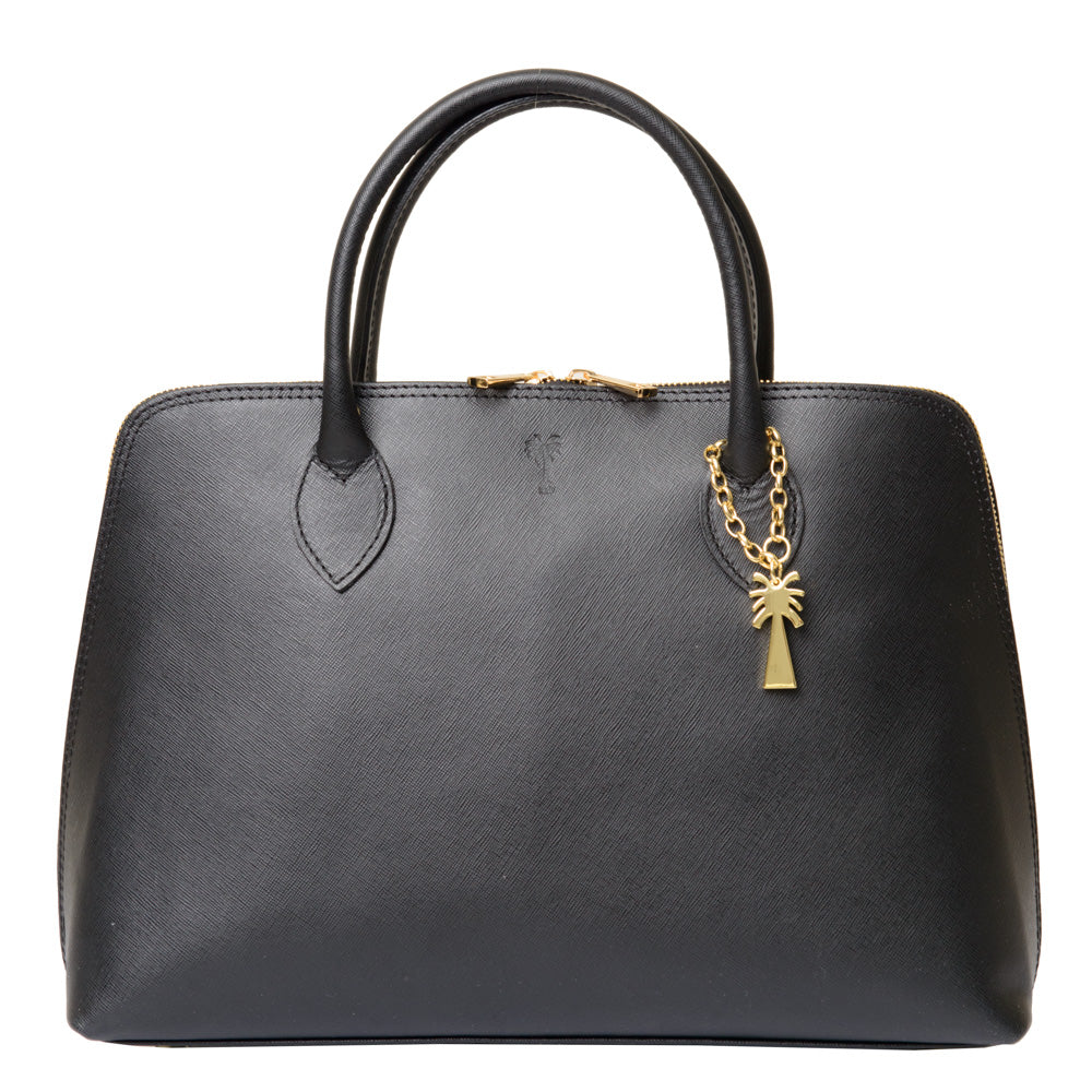 ANGELINA BLACK  LEATHER HANDBAG - www.marlafiji.com