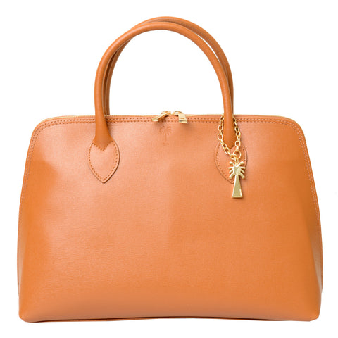 ANGELINA COGNAC  LEATHER HANDBAG - www.marlafiji.com