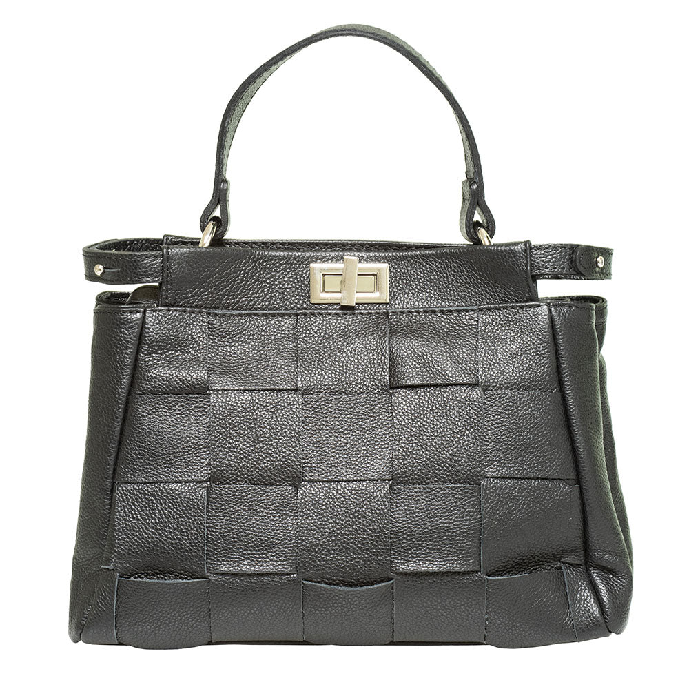 ANNNIE BLACK WOVEN TOP HANDLE BAG