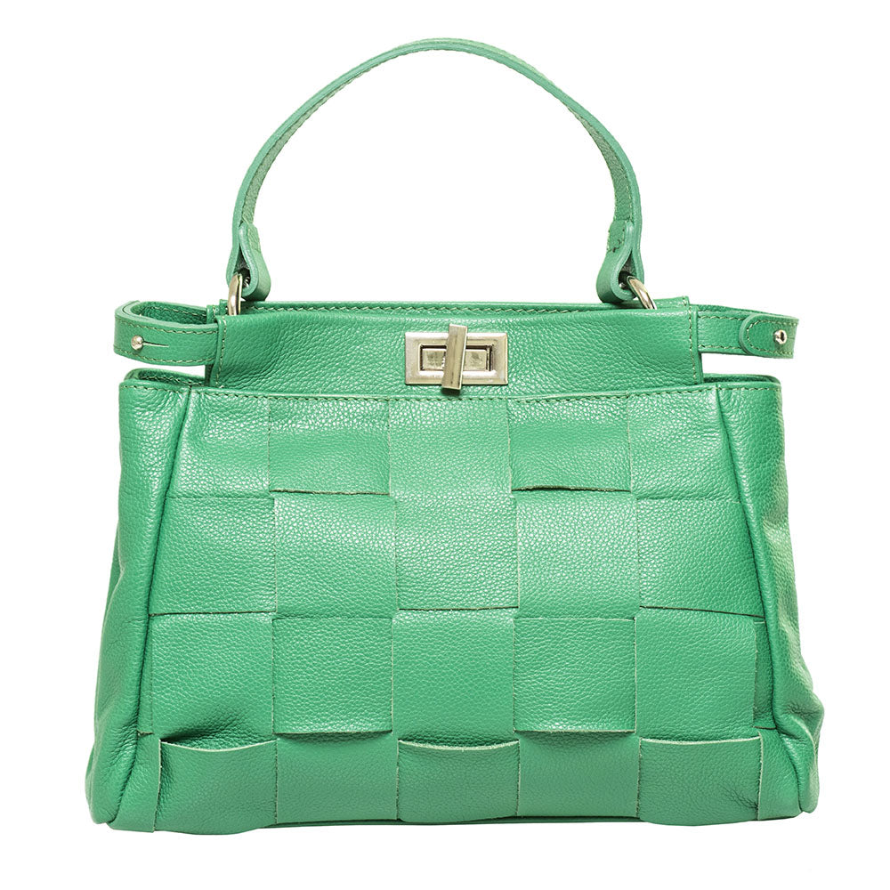 ANNNIE GREEN WOVEN TOP HANDLE BAG
