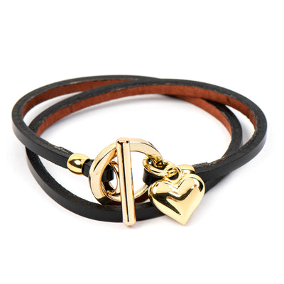 ASH HEART BLACK LEATHER  BRACELET - www.marlafiji.com