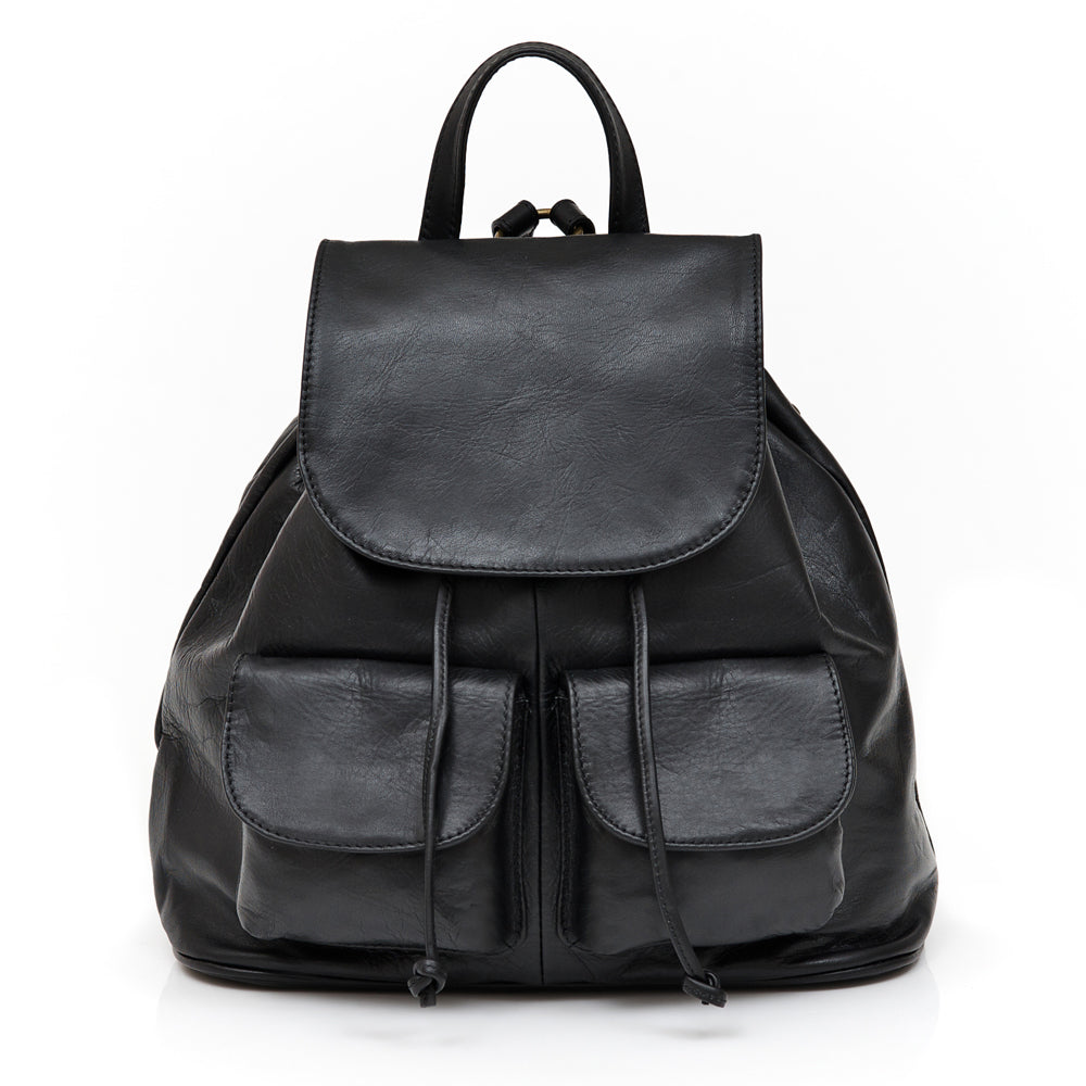 ASH BLACK UNISEX ITALIAN LEATHER BACKPACK