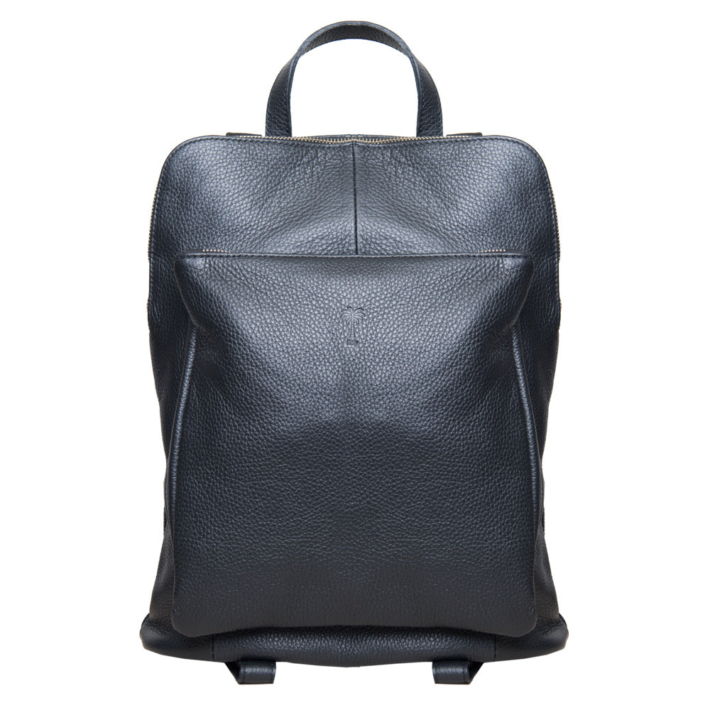 BEE BLACK ITALIAN LEATHER UNISEX BACKPACK - www.marlafiji.com
