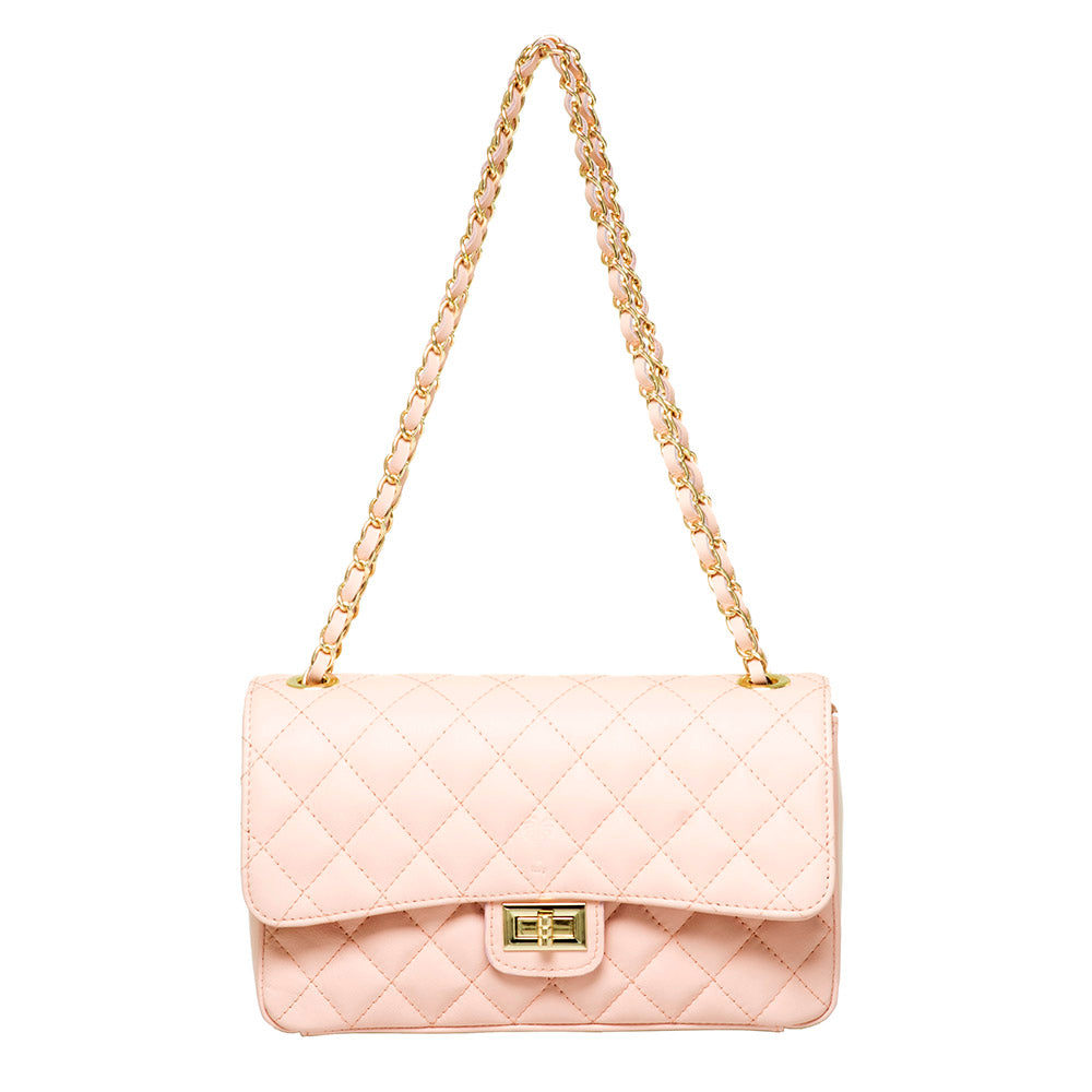 BIANCA BLUSH QUILTED LEATHER SHOULDER BAG - www.marlafiji.com