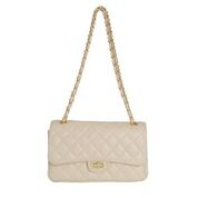 BIANCA CREAM QUILTED ITALIAN LEATHER SHOULDER BAG