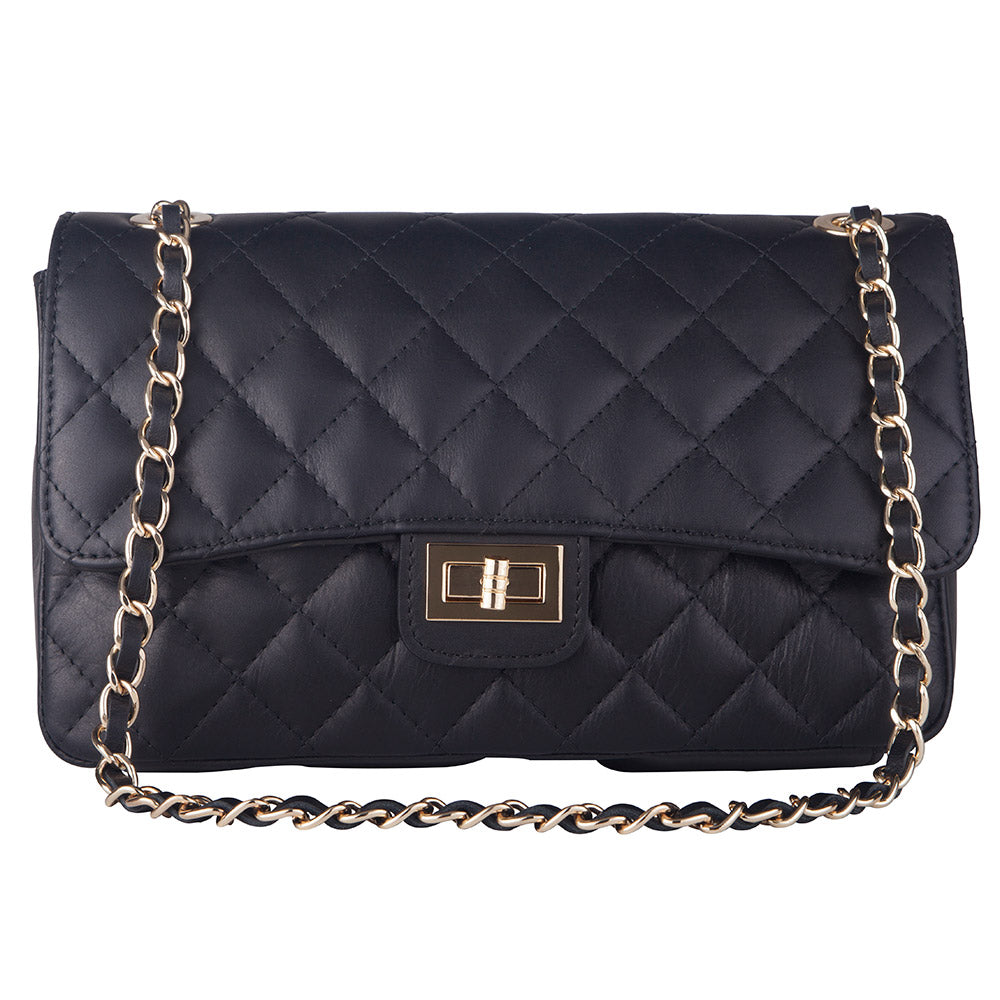 BIANCA NAVY BLUE ITALIAN LEATHER QUILTED SHOULDER BAG