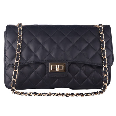 BIANCA NAVY  QUILTED ITALIAN LEATHER  SHOULDER BAG