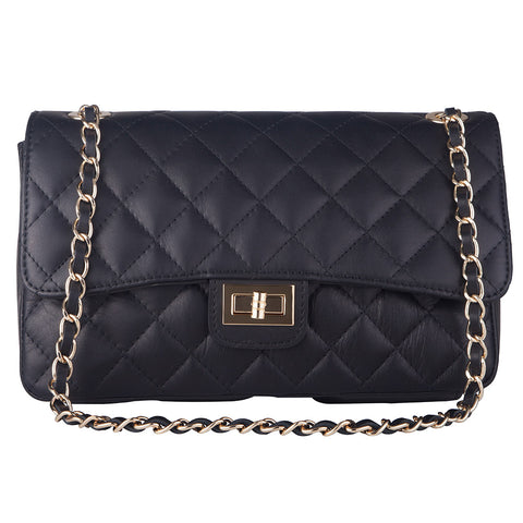 BIANCA NAVY  QUILTED ITALIAN LEATHER  SHOULDER BAG - www.marlafiji.com