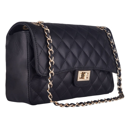BIANCA BLACK QUILTED  ITALIAN  LEATHER SHOULDER BAG - www.marlafiji.com