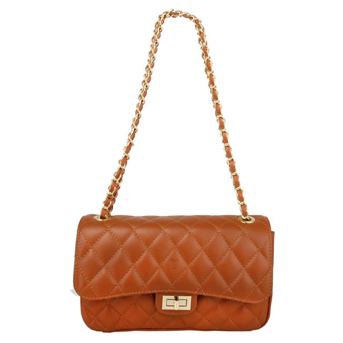 BIANCA COGNAC QUILTED ITALIAN LEATHER SHOULDER BAG