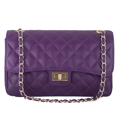 BIANCA PURPLE QUILTED ITALIAN LEATHER SHOULDER BAG - www.marlafiji.com