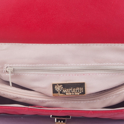 BIANCA RED QUILTED ITALIAN LEATHER SHOULDER BAG - www.marlafiji.com