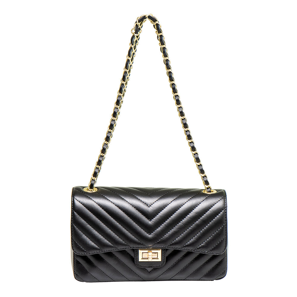 BLAIR BLACK HERRINGBONE EFFECT SHOULDER BAG - www.marlafiji.com