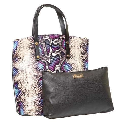 CAMMY BLUE AND PURPLE  PYTHON EFFECT LEATHER FRONT TOTE