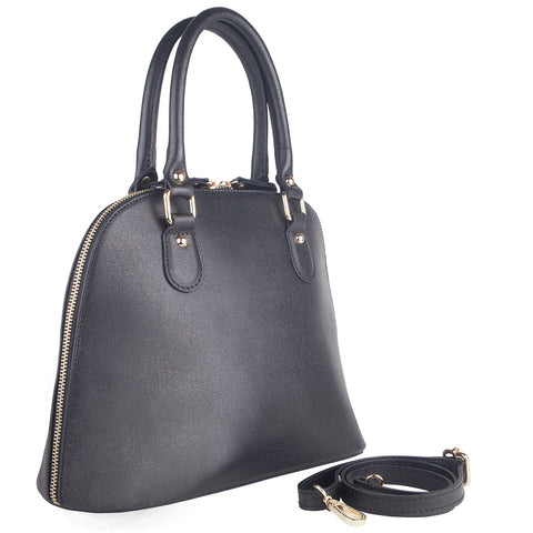 CARMEN BLACK ITALIAN LEATHER DOME BAG - www.marlafiji.com