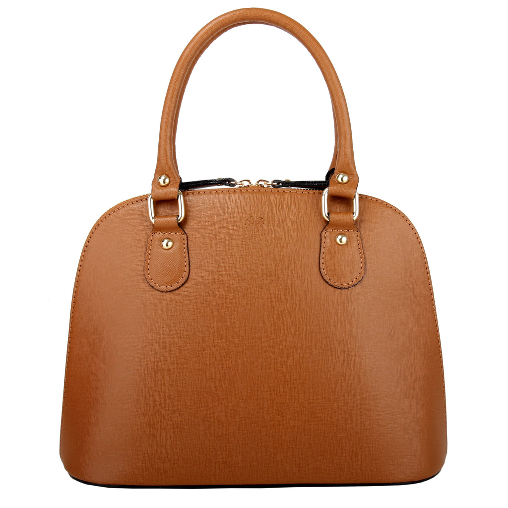 CARMEN COGNAC ITALIAN LEATHER DOME BAG