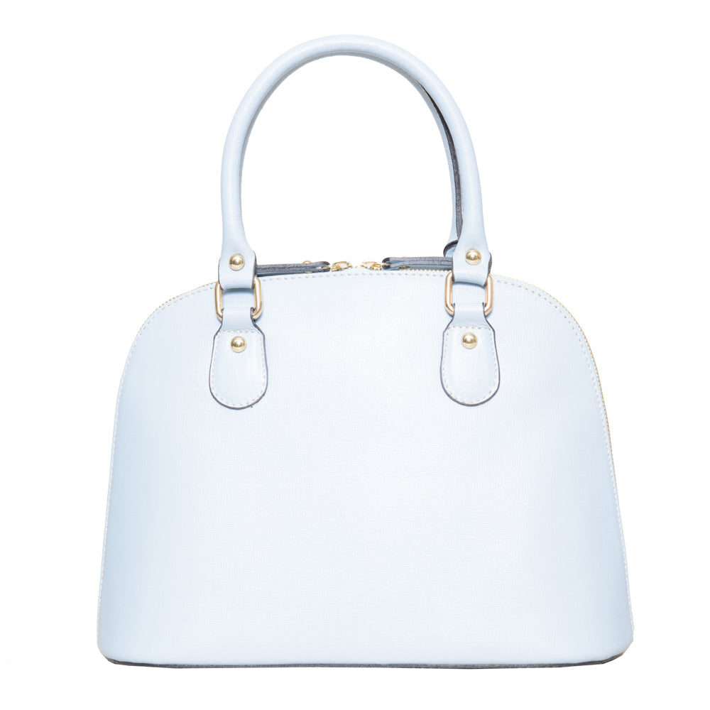 CARMEN BABY BLUE ITALIAN LEATHER DOME BAG - www.marlafiji.com