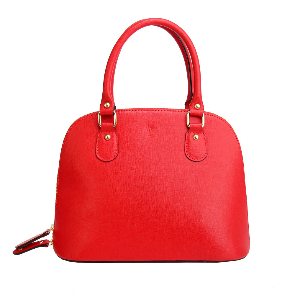 CARMEN RED ITALIAN LEATHER HANDBAG