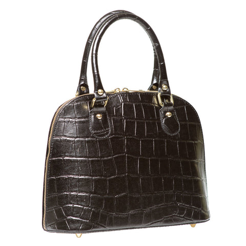 CARMEN BLACK CROC EFFECT LEATHER HAND BAG - www.marlafiji.com