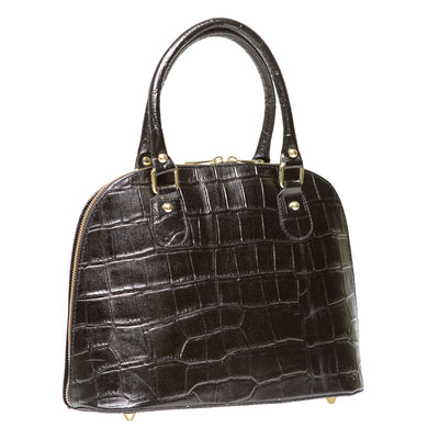 CARMEN BLACK CROC EFFECT LEATHER HAND BAG